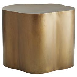 Arteriors Lowry Modern Classic Gold Antique Brass Iron Abstract Side End Table | Kathy Kuo Home