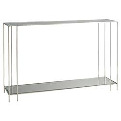 Arteriors Marcus Modern Classic Rectangular Plain Grey Mirror Silver Polished Nickel Stainless Steel Console Table | Kathy Kuo Home