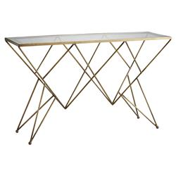Arteriors Mazur Modern Classic Rectangular Clear Glass Grey Antiqued Mirror Border Gold Antique Brass Iron Console Table | Kathy Kuo Home
