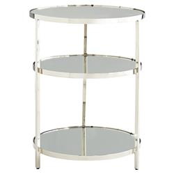 Arteriors Percy Modern Classic Round Plain Grey Mirror Silver Polished Nickel Stainless Steel Side End Table - | Kathy Kuo Home
