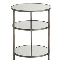 Arteriors Percy Round 3 Tiered Contemporary Mirrored Zinc End Table | Kathy Kuo Home