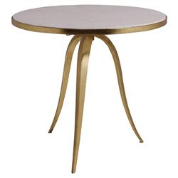 Artistica Crystal Modern Round White Stone Top Gold Iron Base Side End Table | Kathy Kuo Home