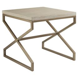 Artistica Edict Modern Metallic Copper Base Square Whitewash Side End Table | Kathy Kuo Home