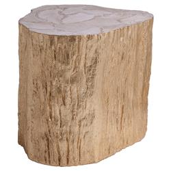 Artistica Trunk Modern Gold Topped Fossil White Shell Side End Table | Kathy Kuo Home