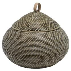 Arturo Global Bazaar Grey Rattan Weave Round Basket - S | Kathy Kuo Home