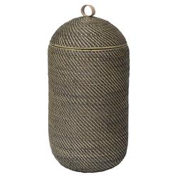 Arturo Global Bazaar Grey Rattan Weave Tall Basket | Kathy Kuo Home