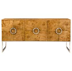 Ascher Modern Classic Walnut Burl Stainless Steel Large Sideboard