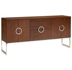 Ascher Modern Classic Walnut Stainless Steel Large Sideboard