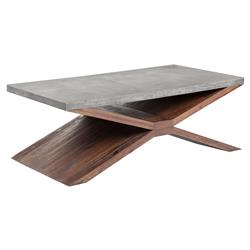 Asgard Industrial Loft Concrete Wood Rectangular X-Frame Coffee Table | Kathy Kuo Home