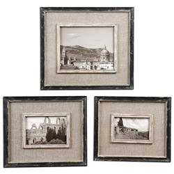 Ashe Rustic Lodge Black Burlap Wood Photo Frames - Set of 3 | Kathy Kuo Home