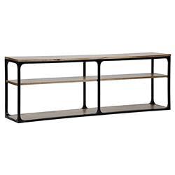 Ashridge Rustic Dark Walnut Black Metal Frame Console Table - 84W | Kathy Kuo Home