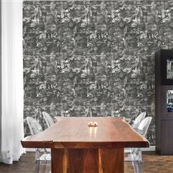 Asian Toile Modern Classic Shadow Removable Wallpaper | Kathy Kuo Home