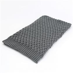 Aspen Grey Ski Chalet Woven Cotton Throw Blanket | Kathy Kuo Home