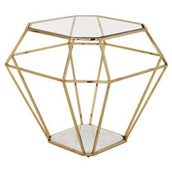Asscher Hollywood Regency White Marble Base Gold Side End Table | Kathy Kuo Home