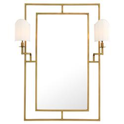 Astaire Modern Classic Lamp Beveled Brass Wall Mirror | Kathy Kuo Home