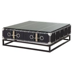 Astoria Industrial Canvas Glass Top Coffee Table | Kathy Kuo Home