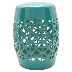 Astrid Global Bazaar Turquoise Ceramic Outdoor Garden Stool | Kathy Kuo Home
