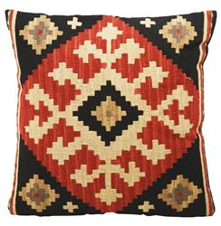 Ataylana Black Red Kilim Pillow - 22x22 | Kathy Kuo Home
