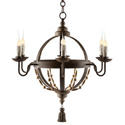 Atlas Globe French Country Tassel 6 Light Chandelier | Kathy Kuo Home