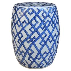 Atlee Modern Classic Blue and White Bamboo Joints Porcelain Garden Stool | Kathy Kuo Home