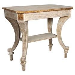 Aubert French Rustic White Wood Gold End Table | Kathy Kuo Home