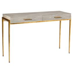 Audra Regency Taupe Faux Shagreen Gold Leaf Desk | Kathy Kuo Home