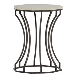 Audrey Grey Travertine Outdoor End Table | Kathy Kuo Home
