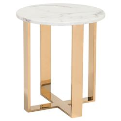 Audrey Modern Regency White Stone Gold Brass Round Side End Table | Kathy Kuo Home