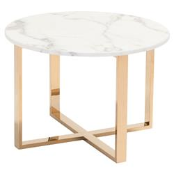 Audrey Modern Regency White Stone Gold Stainless Steel Round Side End Table | Kathy Kuo Home