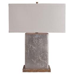Augusta Modern Silver Branches Etched Rectangle Base Table Lamp | Kathy Kuo Home