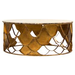 Auriel Global Bazaar Antique Gold Scale Round Coffee Table | Kathy Kuo Home
