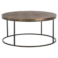 Auron Bazaar Scored Brass Antique Iron Coffee Table | Kathy Kuo Home