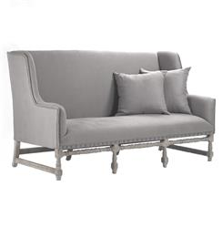 Ausbert French Country Grey Linen Dining Bench Sofa | Kathy Kuo Home