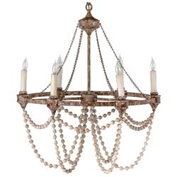 Auvergne French Country Rustic Iron White Bead Chandelier | Kathy Kuo Home