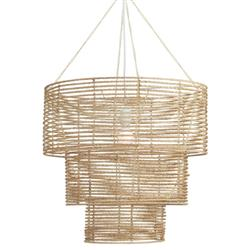 Aveah Coastal Beach  Natural Brown Jute Rope Wrapped 3 Tier Chandelier | Kathy Kuo Home