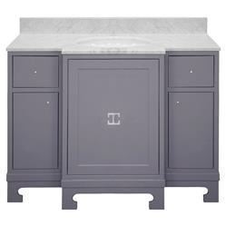 Avett White Marble Grey Lacquer Nickel Vanity Sink | Kathy Kuo Home
