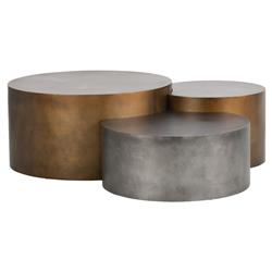 Aviance Industrial Loft Gold Silver Staggered Round Coffee Tables - Set of 3 | Kathy Kuo Home