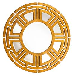 Aztec Hollywood Regency Gold Leaf Circular Pattern Wall Mirror | Kathy Kuo Home
