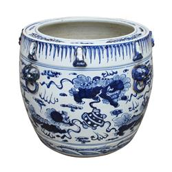 Azuko Modern Classic Blue and White Porcelain Lion Drum Planter | Kathy Kuo Home