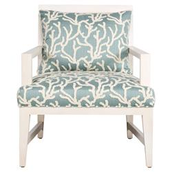 Azul Coastal Teal Coral Rope Back Ivory Armchair | Kathy Kuo Home