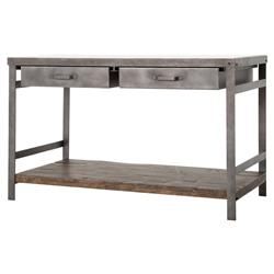 Baker Industrial Washed Metal Drawer Marble Kitchen Island | Kathy Kuo Home