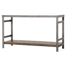 Baker Industrial Washed Metal Marble Top Console Table | Kathy Kuo Home