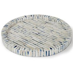 Bapu Global Bazaar Indigo Inlaid Round Tray | Kathy Kuo Home
