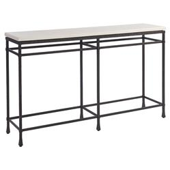 Barclay Butera Breakwater Industrial Loft White Top Aged Metal Console Table | Kathy Kuo Home