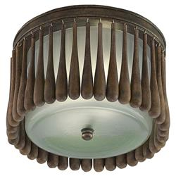 Barclay Rustic Lodge Wood Iron Round Ceiling Mount | Kathy Kuo Home