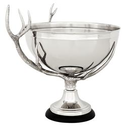Barford Modern Classic Nickel Antler Detailed Serving Bowl | Kathy Kuo Home