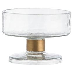 Barnie Hammered Glass Brass Stem Serving Bowl - Small | Kathy Kuo Home