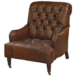 Barren Rustic Lodge Tufted Vintage Brown Leather Castors Armchair | Kathy Kuo Home