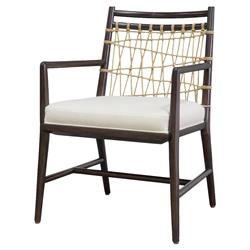 Barret Beach Espresso Woven Jute Rope Armchair | Kathy Kuo Home