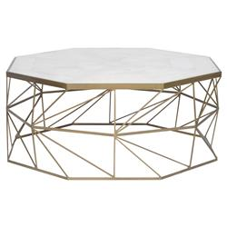Barry Goralnick Olivia Regency Brass Geometry White Marble Coffee Table | Kathy Kuo Home